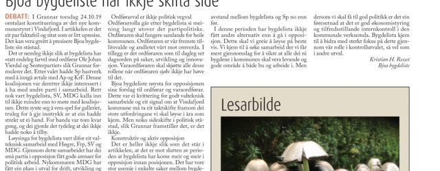 Lesarinnlegg i Grannar, torsdag 31.10.2019: I Grannar torsdag 24.10.19 omtalast konstitueringa av det nye kommunestyret i Vindafjord. I artikkelen er det eit par faktafeil og sitat som er litt upresise. […]